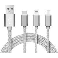 3 i 1 Ladekabel (USB Micro, USB Type-C & Lightning)