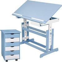 TecTake Børneskrivebord og Rulleskab blå