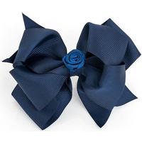 Stor Mørk Blå Satin-Sløjfe med Satin-Rose - på Næbklemme