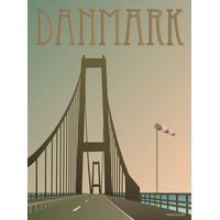 Vissevasse Danmark Storebæltsbroen 15x21cm Plakater