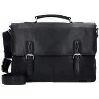 Greenburry Oily Tumbled Messenger Bag Aktentasche Leder 40 cm Laptopfach black