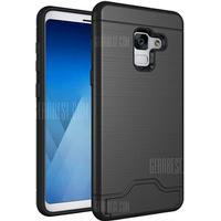 Gearbest Cover Case for Samsung Galaxy A8 2018 Hybrid Armor Soft Silicone TPU+PC Rubber Card Slot Kickstand Back