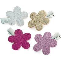 4 Glitter-Hårspænder m. Blomster - i Guld, Sølv, Lyserød & Pink