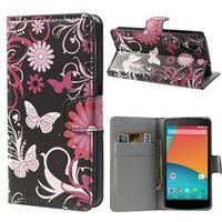 MTP Products LG Nexus 5 Pung Læder Taske - Sommerfugle / Blomster