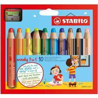 Stabilo - Woody 3in1 10 stk med blyantspidser