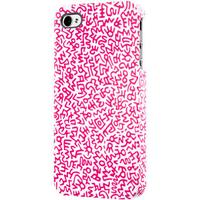 Keith Haring iPhone 4/4S Rubber Case, Graffiti pattern pink