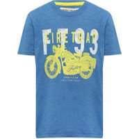 M&Co Firetrap boys 100% cotton blue short sleeve crew neck motorbike logo print t-shirt  - Blue