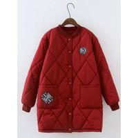 Plus Size Badged Pocket Design Coat - Red 2xl