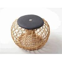 """Cane-Line Cane Line - """"Nest"""" fodskammel - Lille - MED hynde (Sort m/grå knap)"""