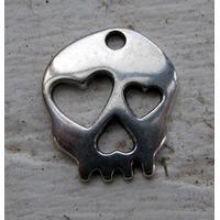 Berlock silverfärgad - Döskalle med hjärtan, 1- styck