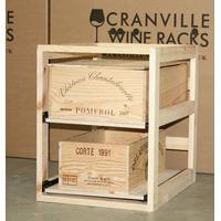 BOX Vinreol m. to udtrækshylder, Leveres samlet, Sortbejdset fyrretræ