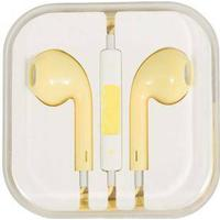 Høretelefon - In-ear Hovedtelefon - udstyret med mikrofon - Gul