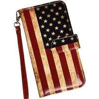 Samsung Galaxy S8+ plånboksfodral i läderimitation med patinerad Amerikansk  flagga b64861c166a53