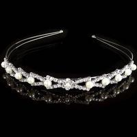 Diadem/Hårbøjle m. Krystalperler og Hvide Perler