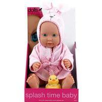 Dolls World dukke - Splash Time Baby - Lyserød 41 cm - Med lyserød badekåbe og badeand