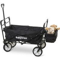 Babytrold Trækvogn med Soltag Sammenklappelig, Sort