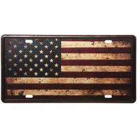 Nummerplåt med patinerad USA flagga