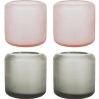Dixie Glass Votives - Set of 4 - Grey/Peach