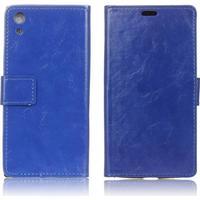 Sony xperia xa1 horse leather flip case - blue