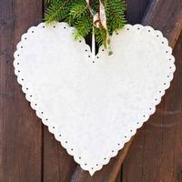 Zink hjerte med fin hulkant, 15 cm