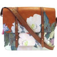 Taske med blomster i håndmalet look