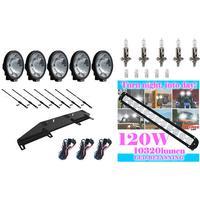 Extraljusfäste + 5st SIM extraljus + LED-ramp 120W + kabelsats + stag