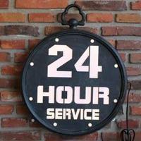 "Lys skilt ""24 Hour Service"""