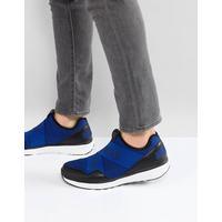 Armani Jeans - Crossover - Blå sneakers i stickat material med logga