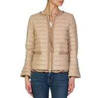 Moncler Beige Omb Leather Padded Jacket - Size 10