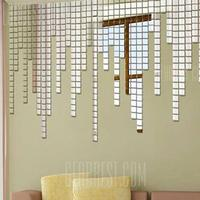 Gearbest Creative Decorative Square Mirror Effect Wall Sticker 100pcs