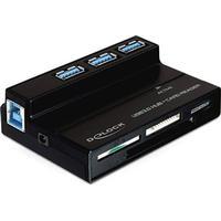 DE-LOCK DeLOCK, USB 3.0 minneskortläsare och 3 portars hubb, 4 fack, svart
