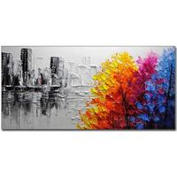 Gearbest Hand Painted Modern Abstract Landscape OiL Painting on Canvas Livng Room Home Wall Decor No Framed