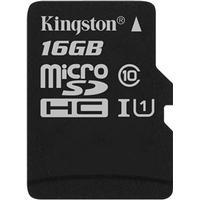 Kingston 16GB microSDHC Canvas Select 80R CL10 UHS-I Single Pk w/o Ada