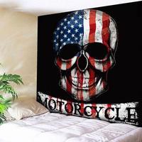 USA Flag Skull Print Wall Art Tapestry