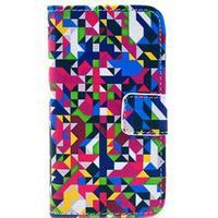 iPhone 4 / 4S Flip Cover med Pung og Stand - Farverig