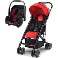 Recaro Easylife Liegebuggy + Privia Babyschale schwarz ruby rot