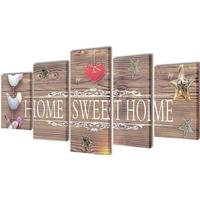 Vidaxl canvastavlor set om 5 home sweet 100 x 50 cm