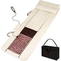 Tectake shiatsu massage-madrass med värmematta av jadesten + fjä