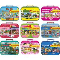 Schmidt Spiele Kinderpuzzle im Metallkoffer, sortiert im Display mit 12 Stück