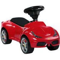 Ferrari gåbil - Rød Med sæde i kunstlæder og støjsvage, stødabsorberende gummihjul