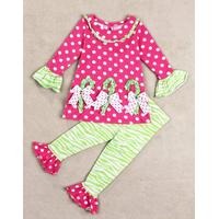 Cute Long Sleeve Polka Dot Bowknot Design Flounced Dress + Striped Leggings Girl's Twinset - Red 90