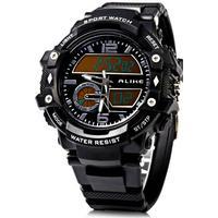 Alike AK15117 Dual Movt Day Date Display LED Sports Watch PU Strap - Black