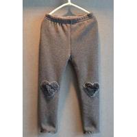 Stylish Elastic Waist Stereo Heart Flower Spliced Solid Color Flounced Girl's Thicken Leggings - Gray 110