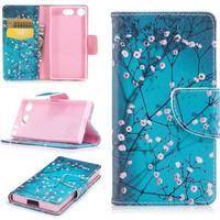 Sony Xperia XZ1 Compact Patterned Leather Wallet Stand Protective Cell Phone Case
