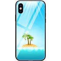 For iPhone X Case Island Coconut TPU +PC+ Glass Smooth Back Shell