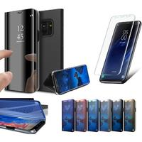 Samsung galaxy s9 plus clear view standing cover + skärmskydd 3d