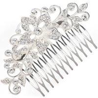 Stort Krystal-Hårsmykke med Blomst & Blade