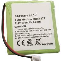 Beltrona TELSINUS201 Batterier til trådløs telefon Passer til: Amstrad, Audioline, Avaya, AVM, BT Verve, DeTeWe, GE, Gigaset, Medion, Philips, Radio Shack, Siemens, Telekom, Vtech, Panasonic NiMH 2.4 V 500 mAh