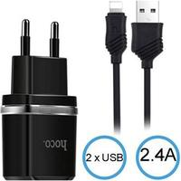 Hoco C12 2.4A Lightning Rejselader - iPhone X/XR/XS max/6/6S/iPad Pro