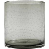 BUBBLE lysestage/vase i glas - h16 cm - røgfarvet